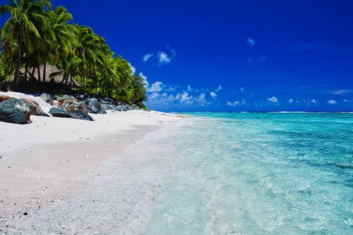 Cook Islands pristine beach crystal clear water